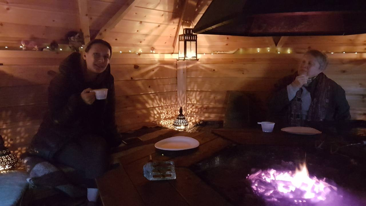Nice time in the barbeque hut